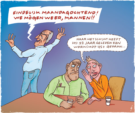 workshop 45+, illustratie voor Metaaljournaal, cartoon