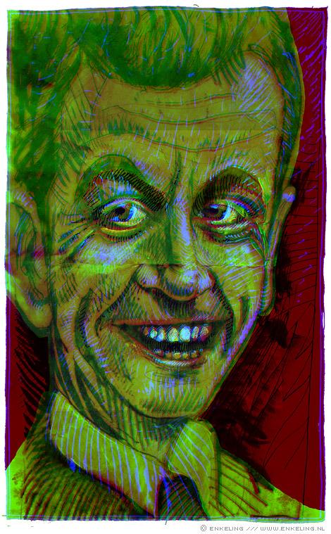 Nicolas Sarkozy, portrait, Enkeling, 2009