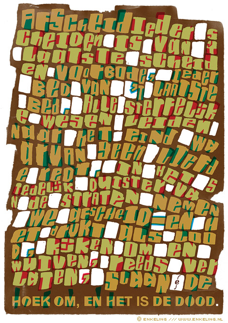 afscheid, j.c. bloem, gedicht, typografie, twijfel, Enkeling, 2011