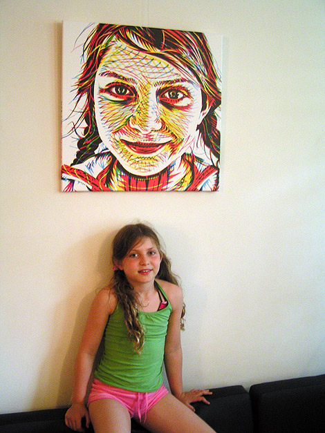 Alexandra with her portrait, art print