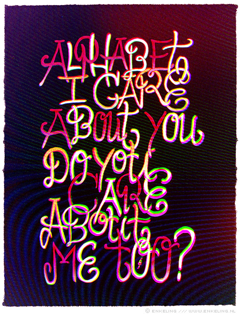 alphabet, care, typography, screen, Enkeling, 2011