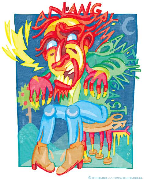 angry, storyteller, mixed media, ecoline, ink, illustrator, Enkeling, 2012