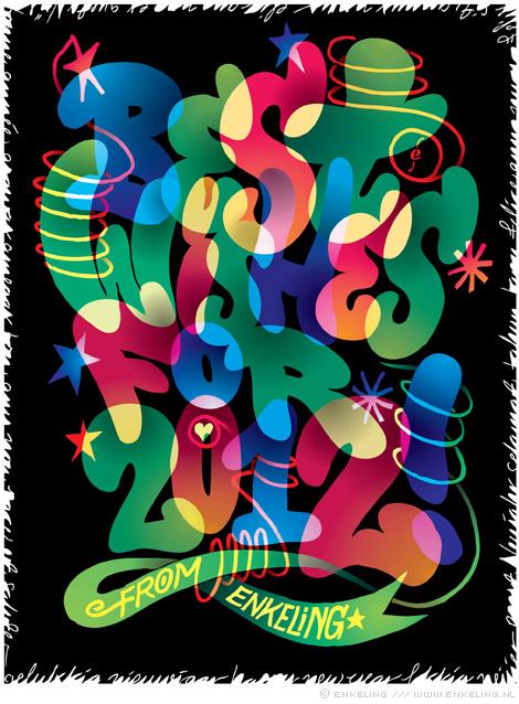 best wishes, typography, nieuwjaarswens, Enkeling, 2011, 2012
