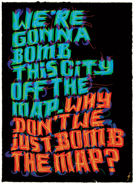 bombing the map, typography, illustration by Enkeling