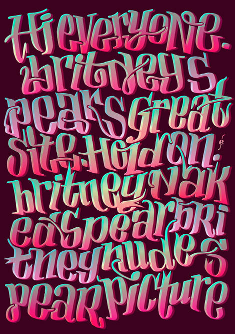 Britney Spears typography, spam series