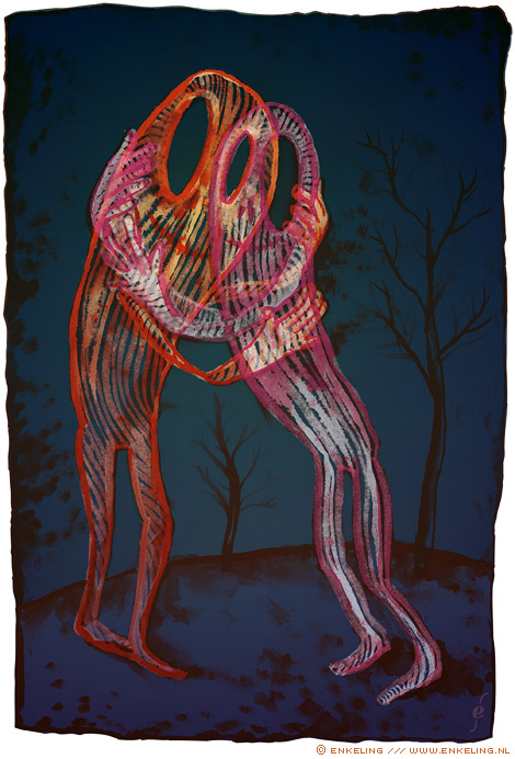close, ghosts, embrace, night, dark, illuminated, ecoline, layers, drawing, Enkeling, 2013