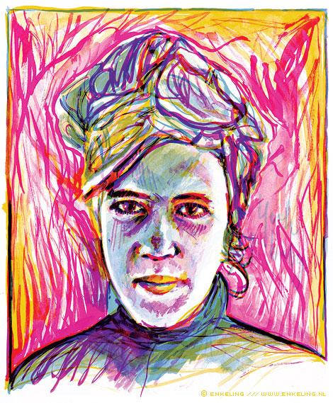 dame met doek, Margje Muusse, portrait, Enkeling, 2010