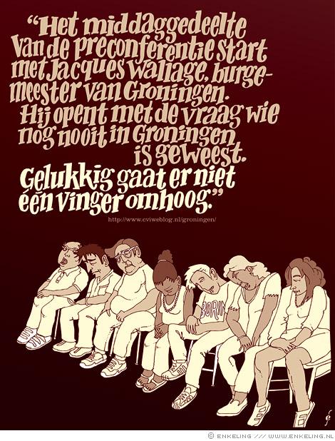 Groningen gegoogled, illustratie met typografie gebaseerd op een uitspraak van Jacques Wallage, voor tijdschrift Dust