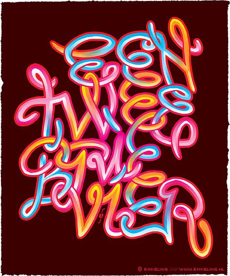 een, twee, brie, vier, typografie, lettering, spaghetti, Enkeling, 2011