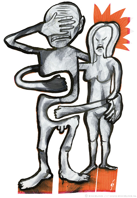 Embittered, Embrace, drawing, couple, violence, Enkeling, 2013