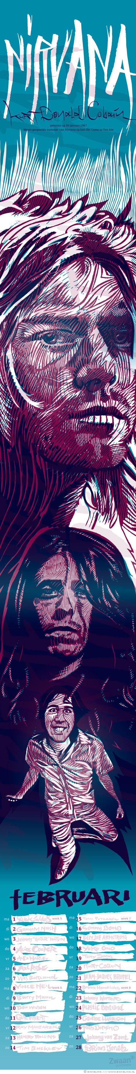 Kurt Cobain, Dave Grohl, Krist Novoselic, Nirvana, portraits, typography, calendar, Zwaan, Enkeling, 2010