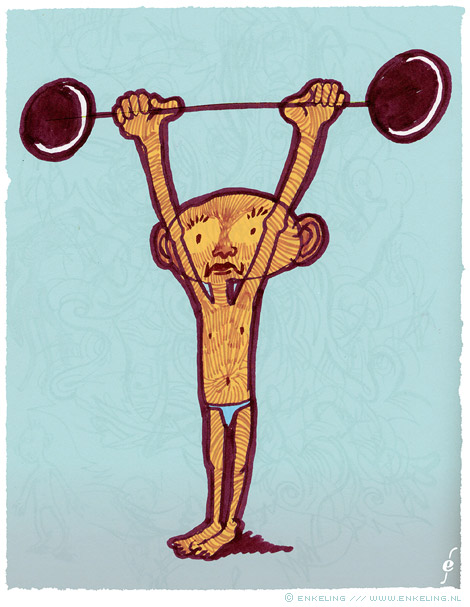 heffer, weight lifter, drawing, gewichtheffer, Enkeling, 2012