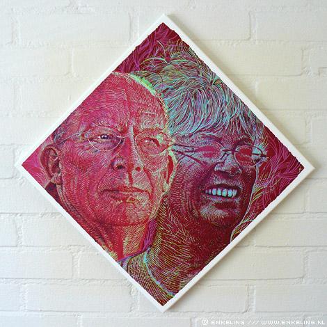 heit, mem, portret, canvas, print, 40, Enkeling, 2011
