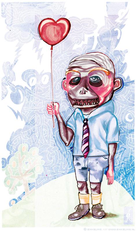 Hot Air, boy, balloon, heartbreak, love, death, drawing, Enkeling, 2012
