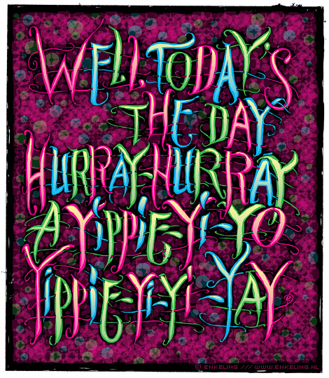 Hurray Hurray, Jungle Brothers, Belly Dancin' Dina, typography, Enkeling, 2010