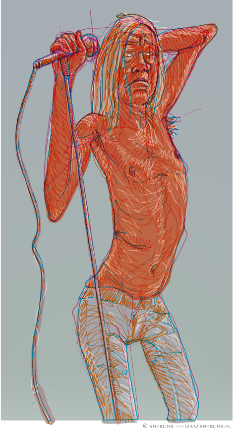 Iggy Pop, in progress, drawing, Enkeling, 2009