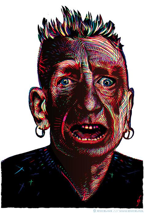 John Lydon, Johnny Rotten, Sex Pistols, PiL, portrait, Enkeling, 2013