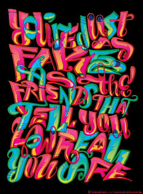 just as fake, lettering, typography, Enkeling, 2011