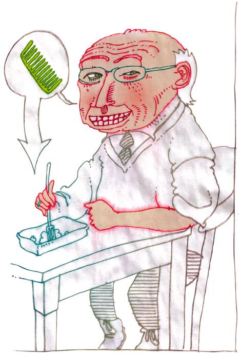 drawing of a man eating a kapsalon