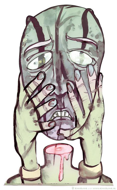 Keep Your Head Up, drawing, ecoline, water, beheading, head, Enkeling, 2013