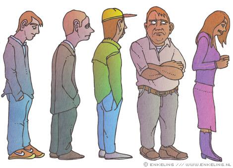 Kredietcrisis in de metaal, queue, illustration for Metaaljournaal, detail