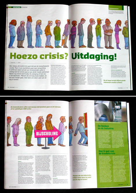 Kredietcrisis in de metaal, queue, illustration for Metaaljournaal