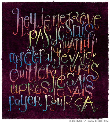 Les Limites, typography, Based on a quote by Julien Doré, illustration by Enkeling