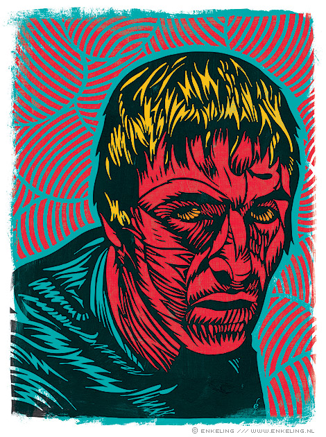 Liam Gallagher, Oasis, portrait, woodcut?, illustration, would be cut,  Enkeling, 2010