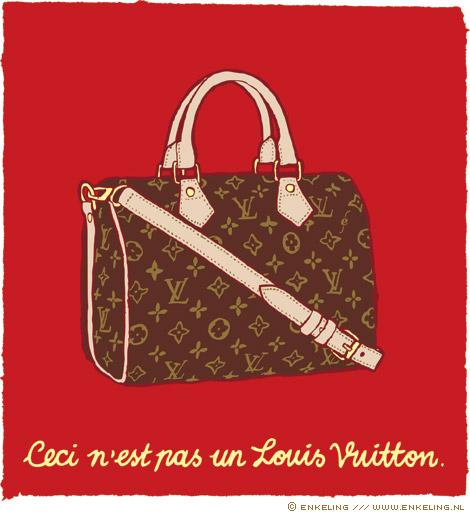 Louis Vuitton, bag, Magritte, pastiche, ceci, n'est, pas, un, Nadine Plesner, beeldcolumn, rechtzaak, Enkeling, 2011