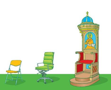 Maandag, 3 stoelen, illustratie voor Maandag