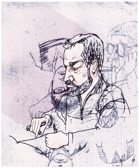 Bas Oostveen, drawing, illustrator, Arnhem, friend, library, Amsterdam, Enkeling, 2007