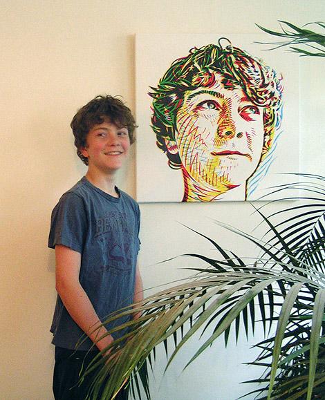 Max with his portrait, art print