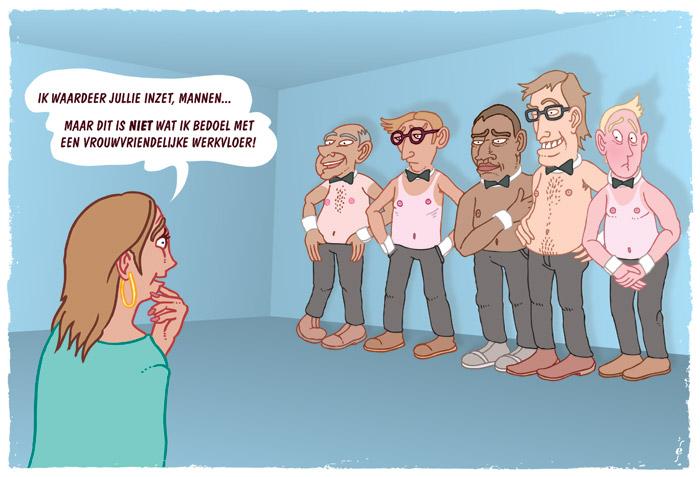 Vrouwvriendelijke werkvloer, cartoon voor Metaaljournaal