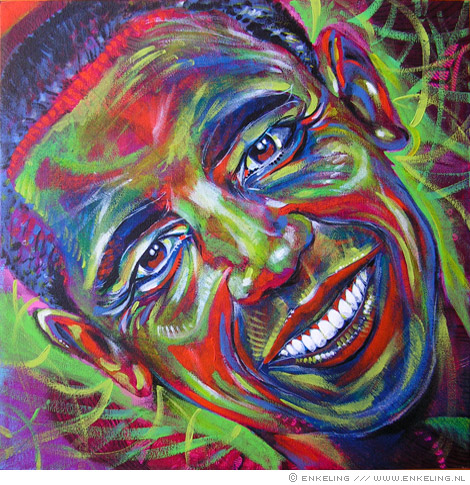 Barack Obama portrait in acrylic paint