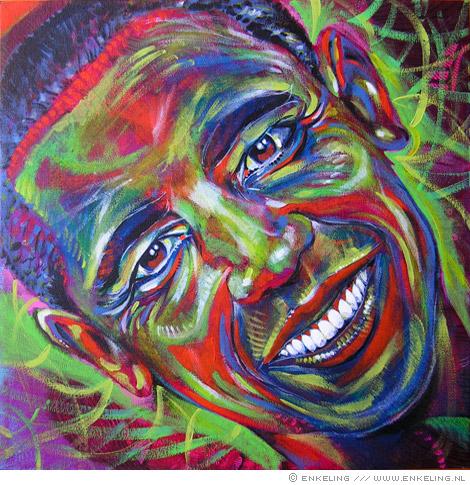 Barack Obama portrait in acrylic paint