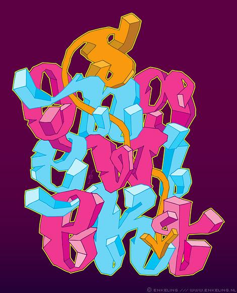 ongewiekst, typografie, flikker toch een eind op, Enkeling, 2011