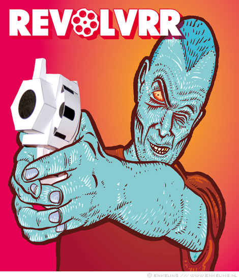 revolvrr, mck, matthijs kamstra, paper toys, paper guns, illustration, revolver, collaboration, book, Enkeling, 2013