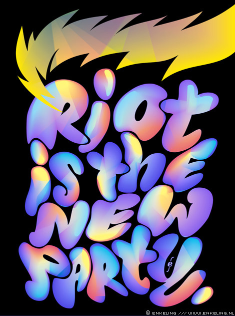 riots, facebook, Haren, Groningen, party, typography, bubbles, swing, lettering, Enkeling, 2012