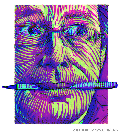 Self Portrait, pen, mixed media, Enkeling, 2009