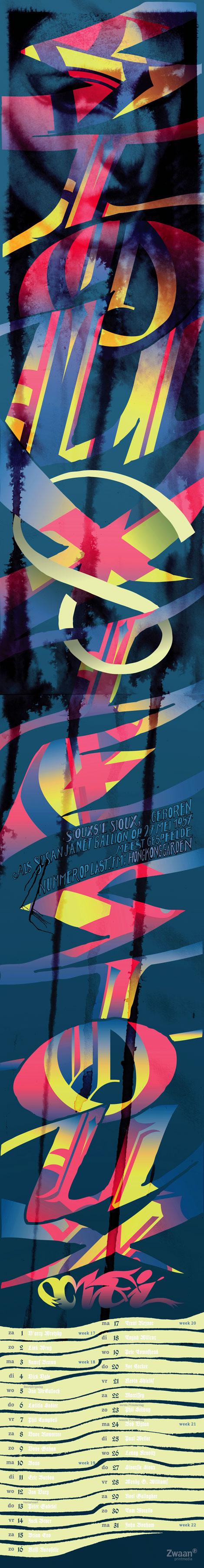 Siouxsie, Sioux, kalender, typography, calendar, Zwaan, Enkeling, 2010