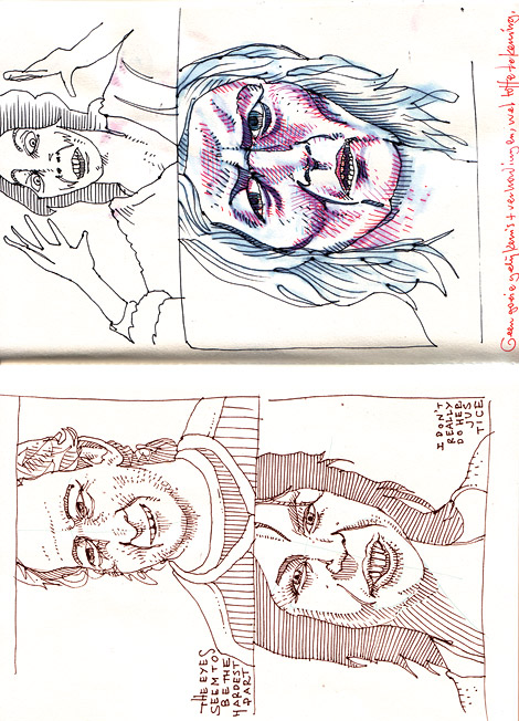 Sketchbook spread, drawings inspired by Boer Zoekt Vrouw