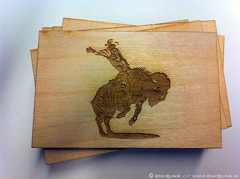 studio, buffalo, armijn, woudman, business card, branded, wood, Enkeling, 2011
