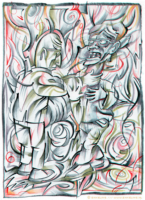 Suffocation, drawing, layers, experimentation, Enkeling, 2012