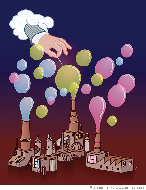creatieve industrie, Switch, breaking, bubble, balloons, luchtbel, doorprikken, illustration, redactioneel, Enkeling, 2009