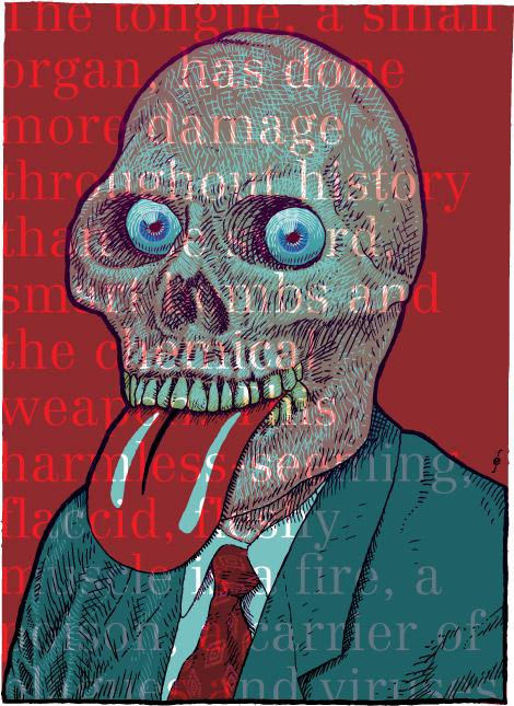 The Evil Tongue, David Byrne, skull, tongue, typography, Enkeling, 2006