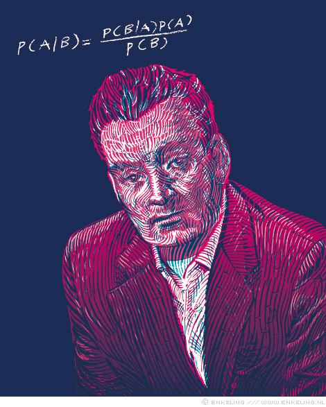 Thomas, Bayes, portrait, Research World, drawing, portret, tekening, Enkeling, 2013