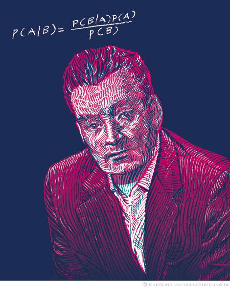 Thomas, Bayes, portrait, Research World, drawing, portret, tekening, Enkeling, 2013