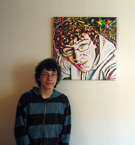 Thomas with his portrait, art print