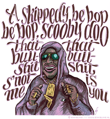 Tim Dog, I Get Wrecked, KRS-One, lettering, typography, illustration, lyrics cover version, Enkeling, 2010