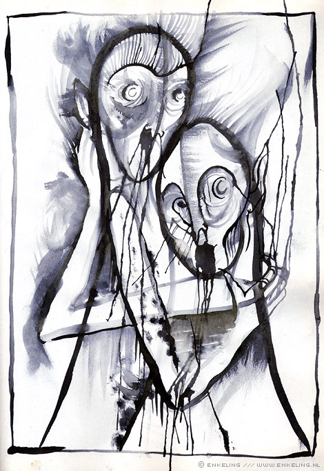 toogether, drawing, duo, pair, love, ecoline, water, drips, Enkeling, 2013